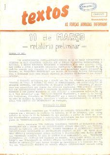 Textos: as Forças Armadas informam: 11 de Março [1975] - relatório preliminar