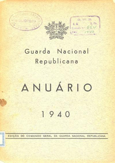 Anuário da GNR Guarda Nacional Republicana de 1940