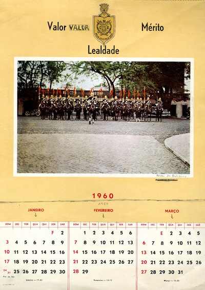 Calendário da Guarda Nacional Republicana [GNR] ano de 1960 : [visual gráfico]