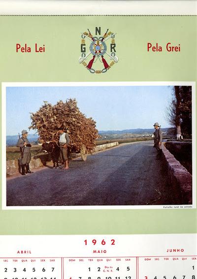 Calendário da Guarda Nacional Republicana [GNR] de 1962 (março-junho): [visual gráfico] patrulha rural na estrada
