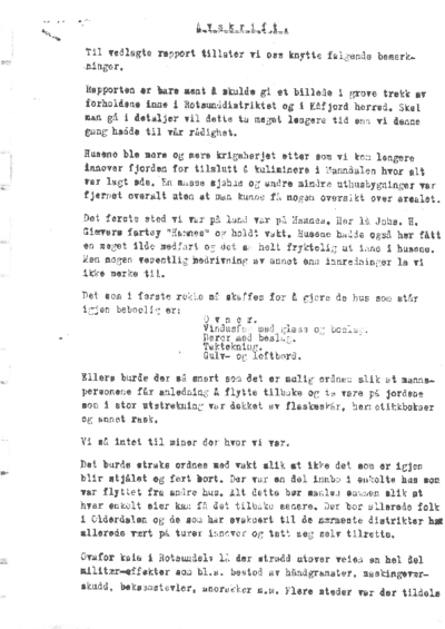 Rapport fra Kåfjord og Rotsund