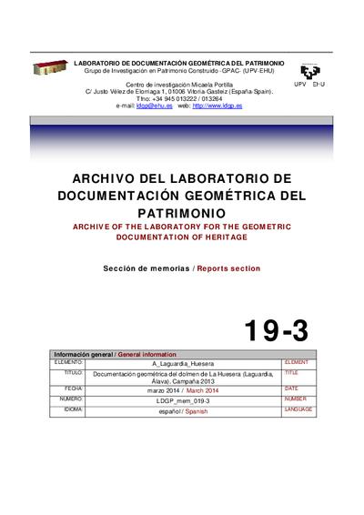 [A_Laguardia_Huesera] Documentación geométrica del dolmen de La Huesera (Laguardia, Álava). Campaña 2013.