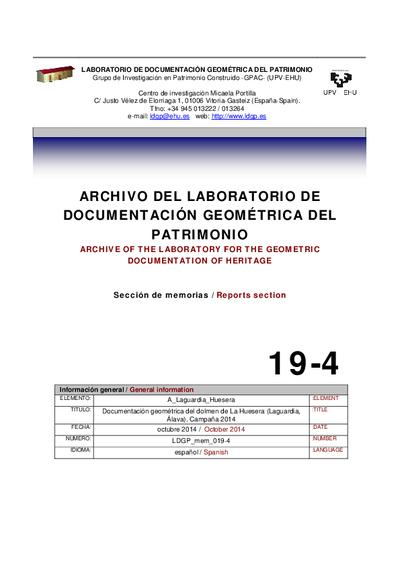 [A_Laguardia_Huesera] Documentación geométrica del dolmen de La Huesera (Laguardia, Álava). Campaña 2014.