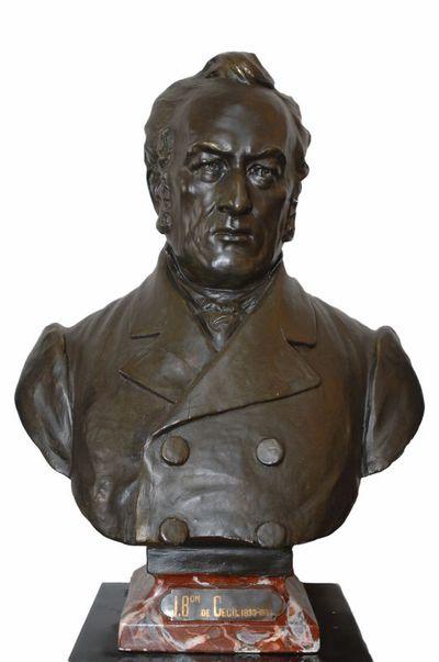Emile Cantillon (1859-1917), Borstbeeld van Julien Baron de Cecil (1795-1865), burgemeester van de stad Hasselt van 1830 tot 1833, ca. 1905, gips, gegoten.