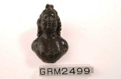 Volledig sierbeslag in de vorm van een buste van Bacchus in brons