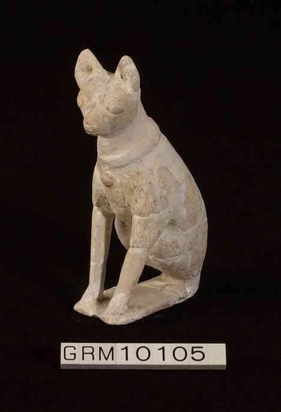 Volledige figurine van een hond in terracotta