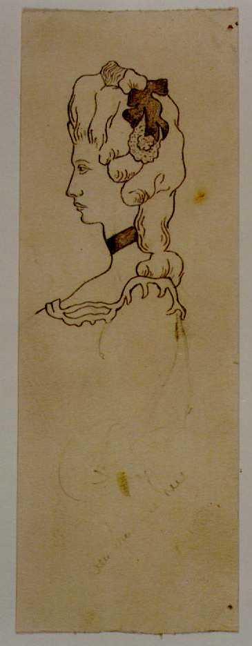 Manufacture de Céramiques Décoratives de Hasselt (1895-1954), ontwerptekening voor een tegel met vrouwenhoofd, s.d., potlood, kalk.