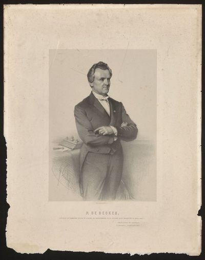 Joseph Schubert (1818-1885) lithograaf, Simonau & Toovey drukker, Portret Pierre De Decker, Gouverneur, 1872, lithografie.