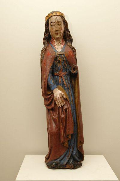 Meester van Oostham, beeld Heilige Lucia, 16de eeuw, gepolychromeerd eikenhout, gesneden.
