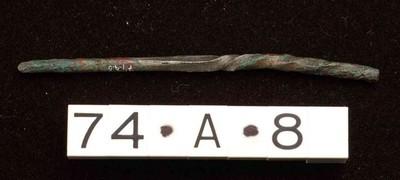 Steel van een cochlear (lepel) in vertind brons