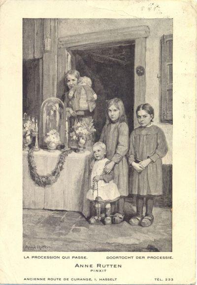 Anoniem, prentkaart van schilderij door Anne Rutten (1898-1981) 'La procession qui passe - Doortocht der processie', afgestempeld 30/08/1934, geadresseerd aan Mr. & Mme. Sak, Hechtel.