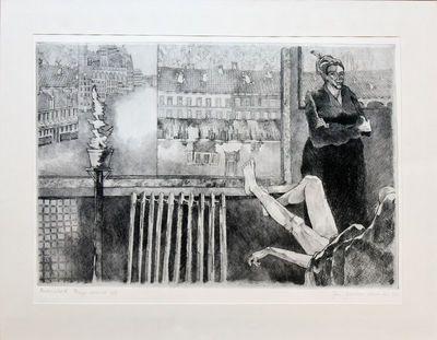 Jan Beulen (°1960), Stadszicht III, genummerd 1/5, 1984, papier, ets, drogenaald.