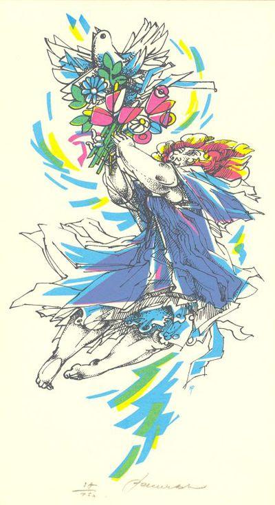 Hedwig Pauwels (°1934), prent met afbeelding van een vrouw met bloementuil en daarop een duif, s.d., zeefdruk op papier.
