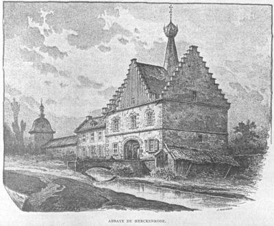 Emile Puttaert (1829-1901), lithograaf J. Malvaux, vervaardiger, prent met zicht op de abdij van Herkenrode, s.d., papier, houtsnede.