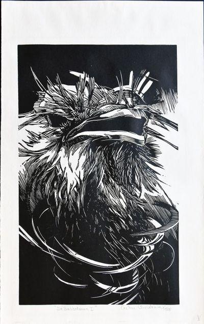 Christine Creten (°1964), grafiek De babbelaar I, 1988, papier.