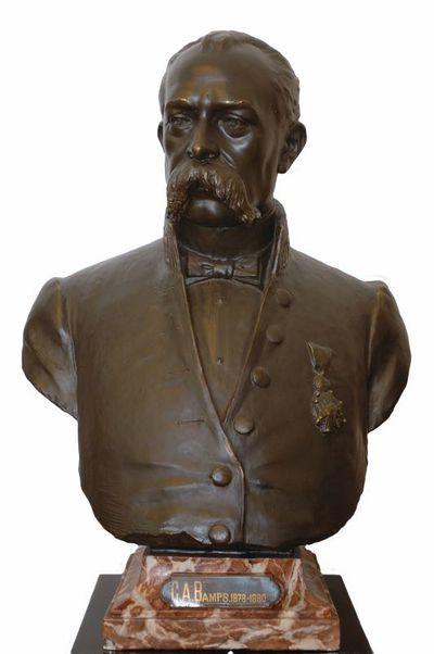 Emile Cantillon (1859-1917), Borstbeeld van Gaspar Arnold Bamps (1826-1880), burgemeester van de stad Hasselt van 1878 tot 1880, ca. 1905, gips, gegoten.