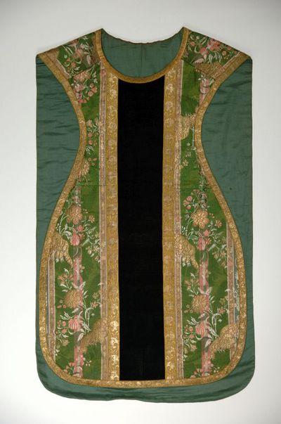 Anoniem, kazuifel, tweede helft 18de eeuw, groen zijdedamast.