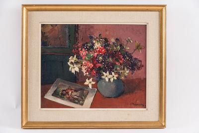 Bloemen met gravure