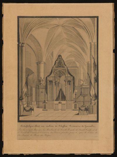 Michel Geraets (1829-1908) lithograaf, Pieter Frederik Mils (1801-1865) drukker, Lijkbaar in de Sint-Quintinuskathedraal voor de rouwdienst van Koningin Louiza Maria, eerste koninging der Belgen, 1850, lithografie.