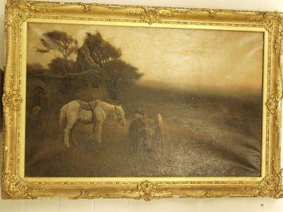 Landschap met oude man en paard