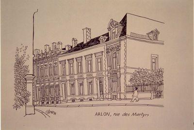 Steven Wilsens (°1937), tekenaar, Brouwerij Artois, uitgever, set met tien reproducties van tekeningen van gebouwen, 1975, offsetdruk op papier.