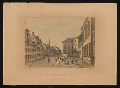Charles Joseph Hoolans (1814-na 1866) lithograaf, Simonau en Toovey drukker, Gezicht op de Havermarkt met achteraan rechts het in 1842 gebouwde gerechtshof