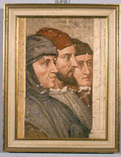 Godfried Egide Guffens (1823-1901), kopie van fresco van Jacopo d'Avanzo, ca. 1850, olie op doe.