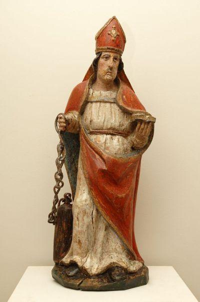 Anoniem, beeld Sint-Leonardus, einde 17de eeuw, gepolychromeerd eikenhout.