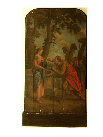 Vrouw aan waterput met ouderling en drie kemels