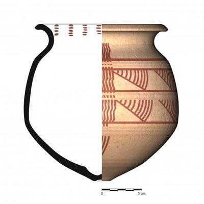 TU97_4. Recipiente cerámico procedente de la necrópolis ibérica de Tútugi (Galera, Granada)