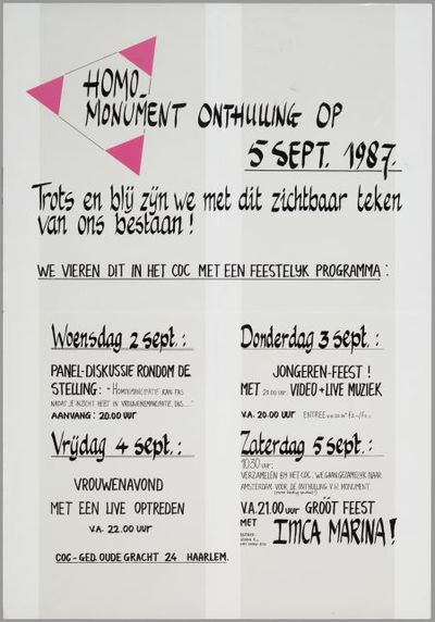 Homo-monument onthulling op 5 sept. 1987