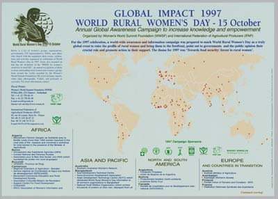 Global impact 1997 : world rural women's day - 15 October : annual global awareness campaign to increase knowledge and empowerment