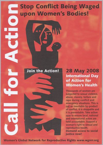 Stop conflict being waged upon women's bodies! Join the action! Call for action. International Day of Action for Women's Health
