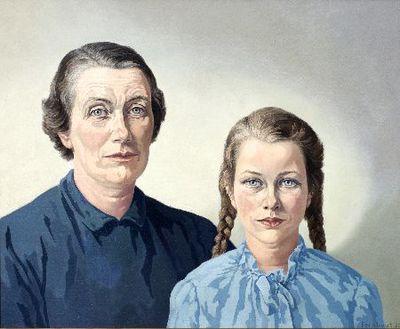 Schilderij. W.H. Posthumus- van der Goot met haar dochter Claire.