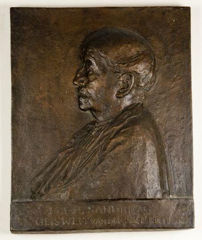 Bronzen reliëf. M.E. H. Sandberg- Geisweit van der Netten.