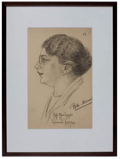 Portret. Rosa Manus met opschrift:'  Marthe Antione Gerardin Vrouwenclub Amsterdam'.