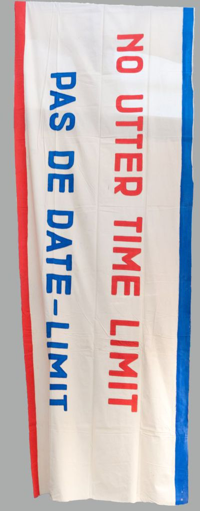 Spandoek. 'No utter time limit/ Pas de date-limit'.