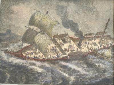Gravure «Le Vauban assailli par un coup de vent»