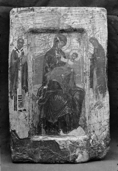 Mother of God with Christ Child enthroned, St Nicholas and St John the Baptist