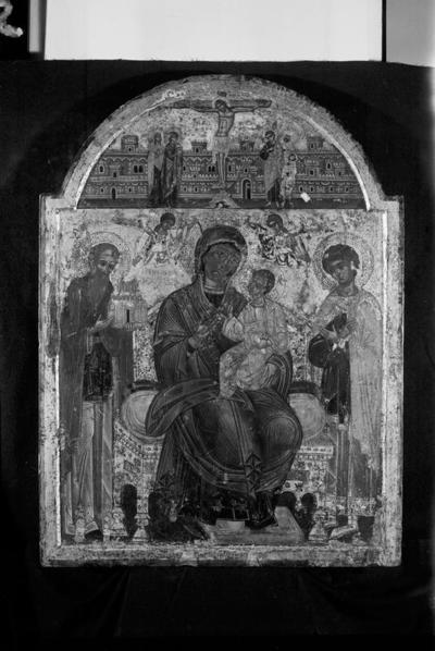Virgin Mary Hodegetria with St Athanasius the Athonite and St George, and Crusifxion