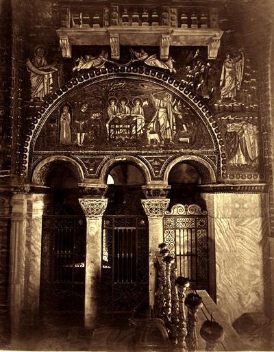Ravenna, Basilica di San Vitale, Parete destra del presbiterio (prima della rimozione delle cantorie)