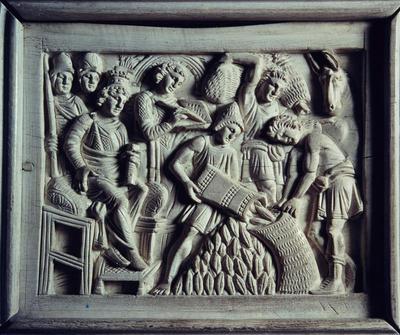 Ravenna, Museo Arcivescovile, Cattedra di Massimiano, Giuseppe fa riempire i sacchi di grano
