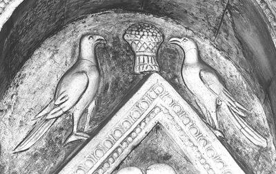 Ravenna, Battistero Neoniano, Lunetta con due uccelli