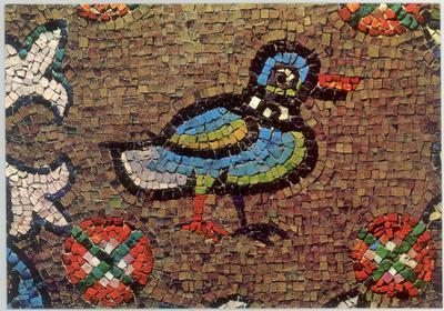 Ravenna, Cappella Arcivescovile, Volta con fiori  e uccelli, particolare