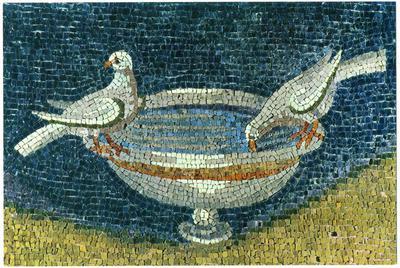 Ravenna, Mausoleo di Galla Placidia, Colombe che si abbeverano