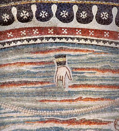 Ravenna, Basilica di San Vitale, Lunetta con i sacrifici di Abele e Melchisedec, particolare