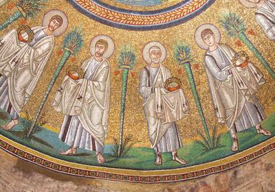 Ravenna, Battistero degli Ariani, Corteo di Apostoli ed Etimasia, particolare