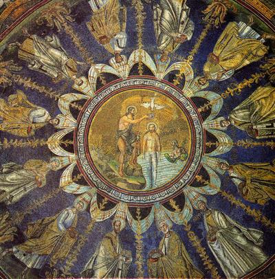 Ravenna, Battistero Neoniano, Battesimo di Cristo e Corteo di Apostoli