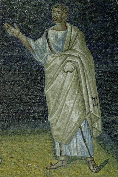 Ravenna, Mausoleo di Galla Placidia, Lunetta con apostoli, particolare
