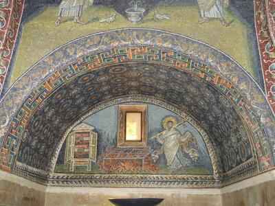 Ravenna, Mausoleo di Galla Placidia, Lunetta del martirio di San Lorenzo
